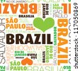 I love Sao Paulo Brazil seamless typography background pattern in vector - stock vector