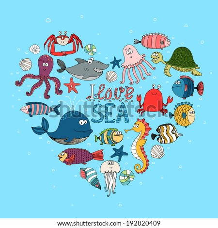 I Love Sea nautical themed design with various fish  a whale  shark  octopus  turtle  seahorse  lobster and crab in a heart shape on a turquoise blue background for the ocean with the text I Love Sea - stock vector