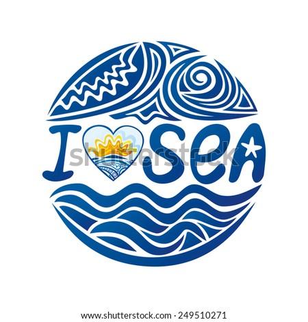 I love sea round pattern design element vector illustration - stock vector