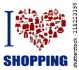 I love shopping background. The heart is made from different  fashion items, vector illustration - stock vector
