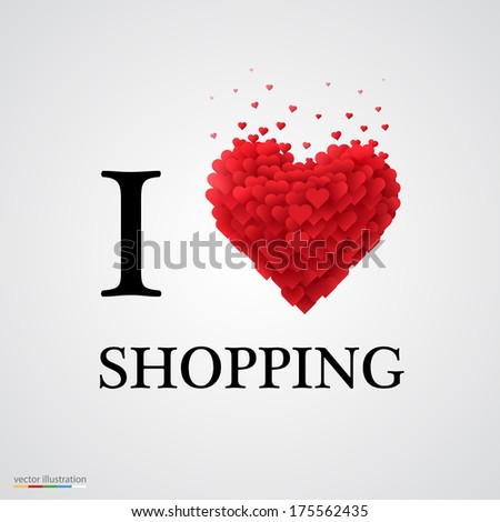i love shopping, font type with heart sign. - stock vector