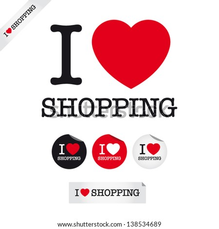 i love shopping, font type with signs, stickers and tags - stock vector