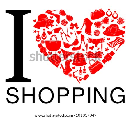 I love shopping icon. The heart is made from different female fashion items. - stock vector