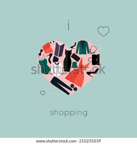 I Love Shopping icon, the heart is made of different female fashion accessories. Raster version also available. - stock vector
