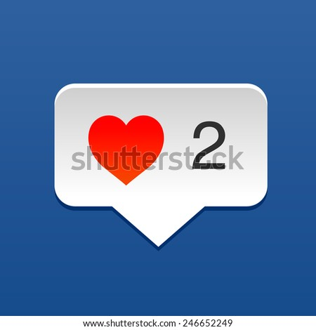 I love social media bubble with heart, concept for Valentines Day, vector illustration.  - stock vector