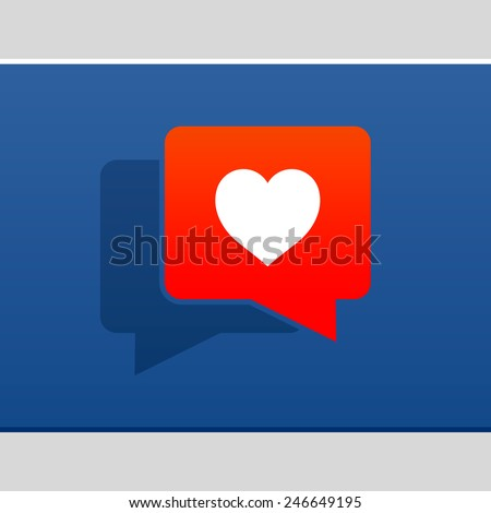 I love social media bubble with heart, vector illustration. - stock vector