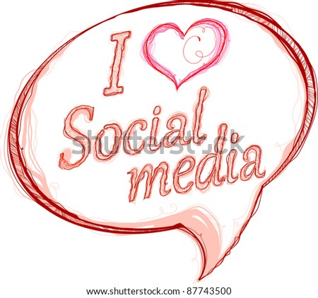 I love social media hand draw - stock vector
