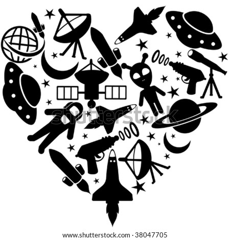 I love space icons - stock vector