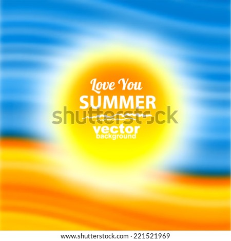 I love summer - hot vector background with sun, sand and waves - stock vector