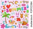 I Love Summer Psychedelic Groovy Notebook Doodle Design Elements Set on Pink Lined Sketchbook Paper Background- Vector Illustration - stock vector