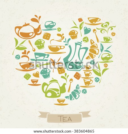 I love tea. Heart shaped tea and sweets flat icons design. Flat tea and sweets icons. Food and drink elements. Breakfast icons.  - stock vector