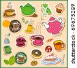 I Love Tea!!! Set of tea design elements in vector - stock vector