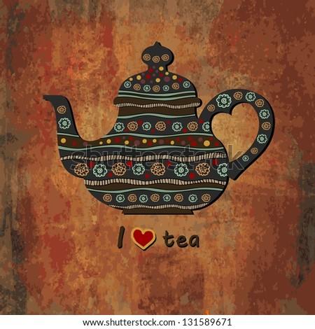 I Love Tea. Vector illustration. - stock vector