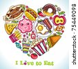 I love to Eat. Vector illustration of cute heart made of different types of  delicious food - stock vector