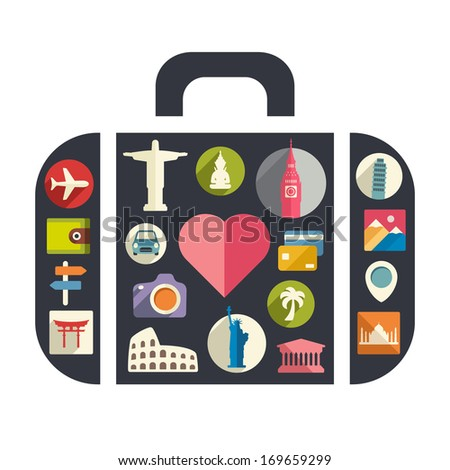 I love travel - stock vector