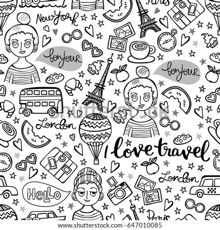 I love travel. Boy and girl. Paris. London. New York. Lettering. Seamless vector pattern (background).