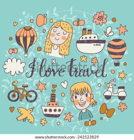 I love travel - cartoon concept background in vector. Travel concept symbols: ship, air balloon, motorbike, cloud, butterfly, bird, bicycle and cute kids - stock vector
