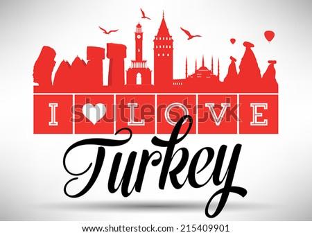 I Love Turkey Typography Design - stock vector