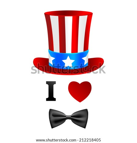 I love Uncle Sam card. - stock vector