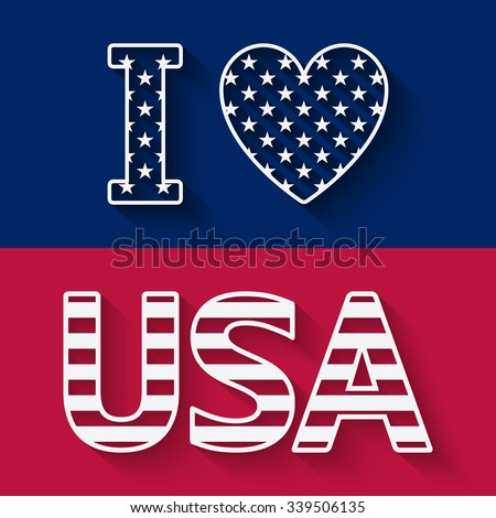 I love USA illustration. vector illustration - eps 10 - stock vector
