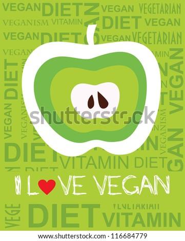 i love vegan card design. vector illustration - stock vector