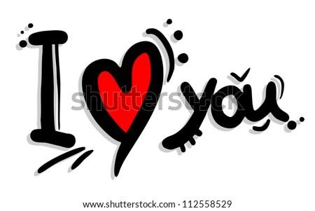 I love you art - stock vector