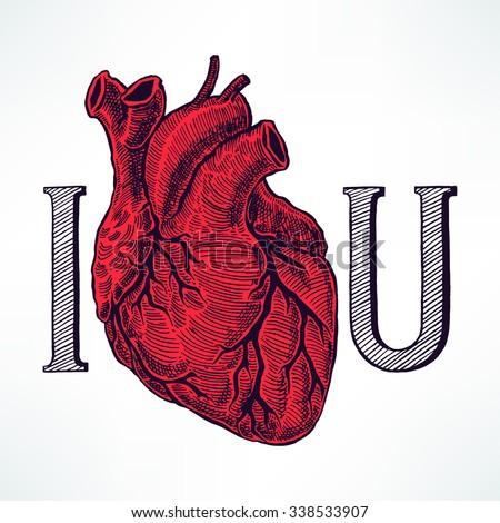 Love You Beautiful Human Heart Handdrawn Stock Vector Royalty Free