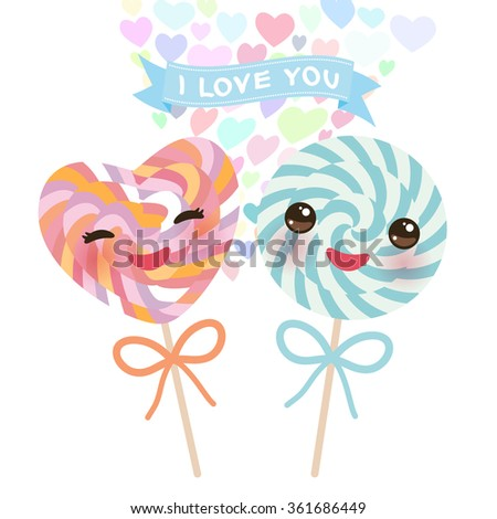 I love you Card design with Kawaii Heart shaped candy lollipop with pink cheeks and winking eyes, pastel colors on white background. Vector - stock vector