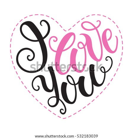 i love you doodle heart shaped hand lettering romantic background greeting card design template
