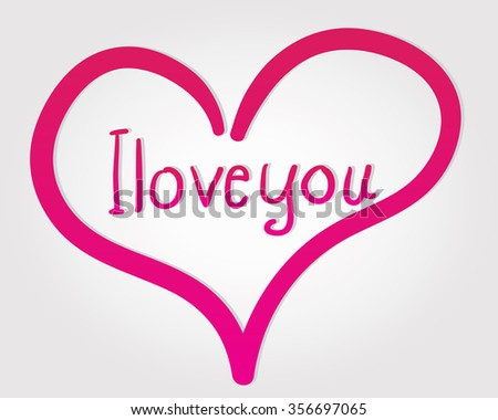 I love you hand drawing message - stock vector