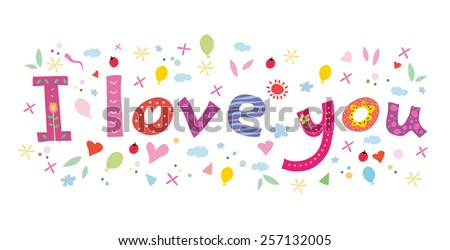 I LOVE YOU hand lettering - stock vector