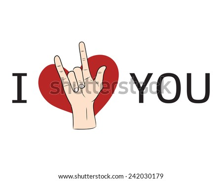 I love You  hand sign with red heart - stock vector