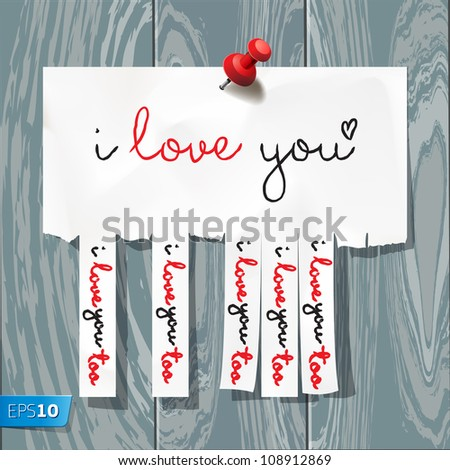 I love you - handwritten on advertisement with cut slips, vector Eps10 illustration.