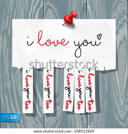 I love you - handwritten on advertisement with cut slips, vector Eps10 illustration. - stock vector