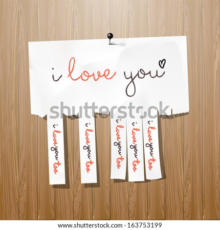 I love you - handwritten on advertisement with cut slips, vector illustration.