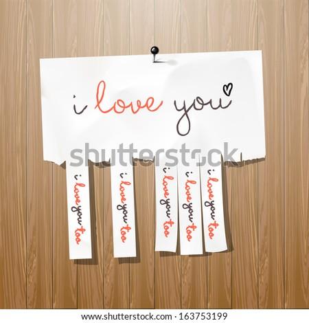 I love you - handwritten on advertisement with cut slips, vector illustration.  - stock vector