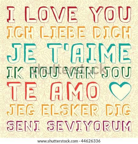 I Love You In Seven Languages - stock vector