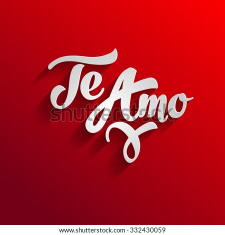 I love you in spanish greeting card template. Te amo - stock vector