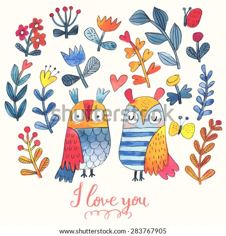 I love you. Lovely vector card with sweet owls, butterfly and flowers in awesome colors. Stunning romantic card made in watercolor technique. Bright Valentines background with text in vector - stock vector