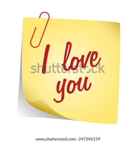 I love you note vector - stock vector
