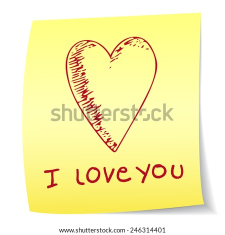 I love you paper note - stock vector