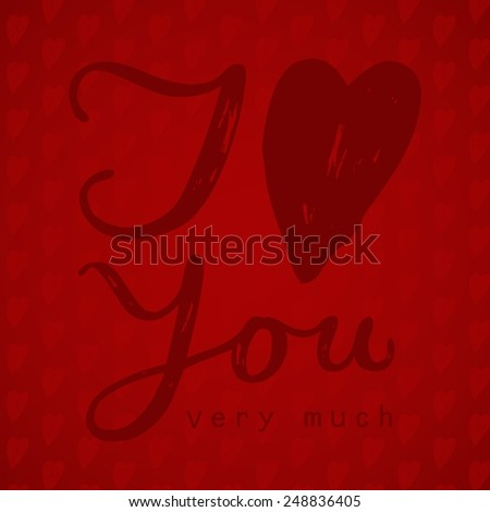 I love you red card handwritten - stock vector