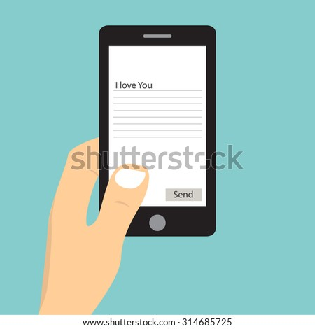 I love you sms message on the screen of smart phone