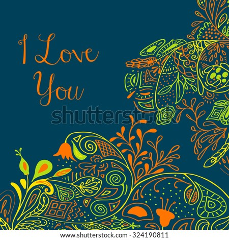 I Love you text on teal background with floral nature ornament with roses, flowers, bluebell, campanula, bellflower, leaves, branches. Vector illustration eps 10. For valentines day design concept.  - stock vector