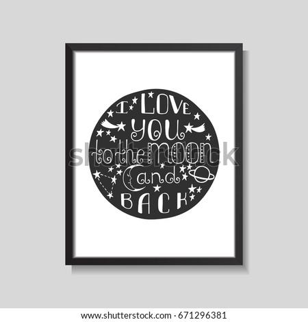 Love You Moon Back Hand Drawn Vector de stock671296381: Shutterstock