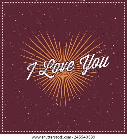 I love you Typographic Design - Happy Valentines Day - stock vector
