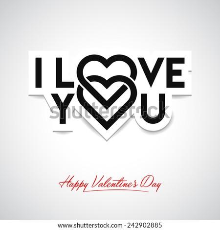 I Love You. Valentine's card - stock vector