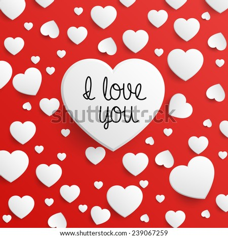 I Love You - Valentine's Day Card - Vector EPS10 - stock vector