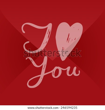 I love you valentine text lettering handwritten envelope - stock vector