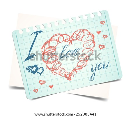 i love you. Vector doodle heart valentines card - stock vector